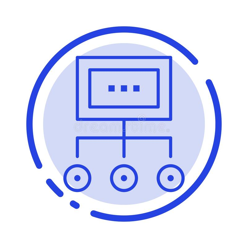 Het netwerk, Zaken, Grafiek, Grafiek, Beheer, Organisatie, Plan, verwerkt het Blauwe Pictogram van de Gestippelde Lijnlijn vector illustratie
