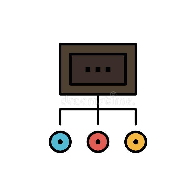 Het netwerk, Zaken, Grafiek, Grafiek, Beheer, Organisatie, Plan, verwerkt Vlak Kleurenpictogram Het vectormalplaatje van de picto stock illustratie