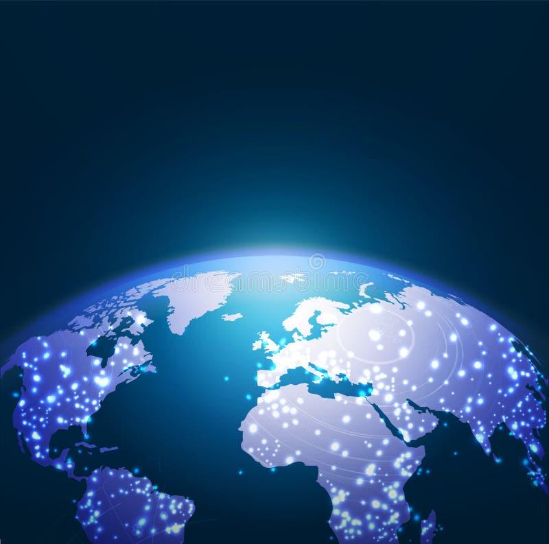 Het netwerkachtergrond van de wereldtechnologie, illustratie stock illustratie