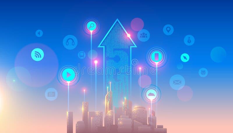het netwerkembleem van 5g lte over de slimme stad hoge snelheid, breedband telecommun vector illustratie
