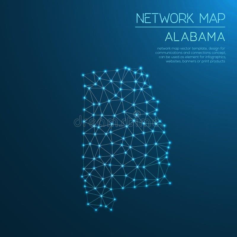 Het netwerkkaart van Alabama vector illustratie