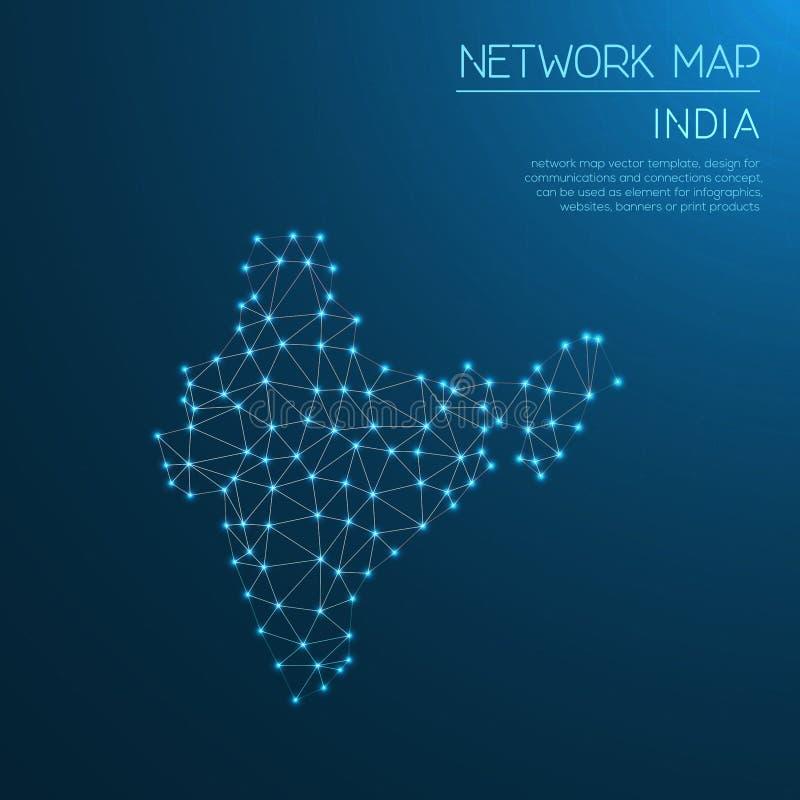 Het netwerkkaart van India royalty-vrije illustratie