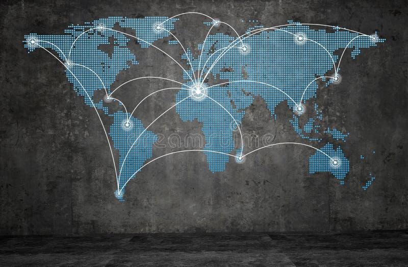 Het netwerknetwerk van de wereldtechnologie stock illustratie