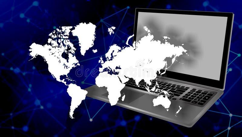 Het netwerktechnologie van de wereldcomputer Technologiemededeling royalty-vrije illustratie