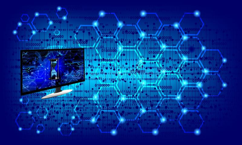 Het netwerktechnologie van de wereldcomputer Technologiemededeling vector illustratie