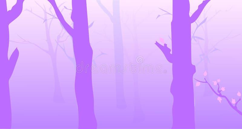 Het nevelige bos van de ochtend vector illustratie