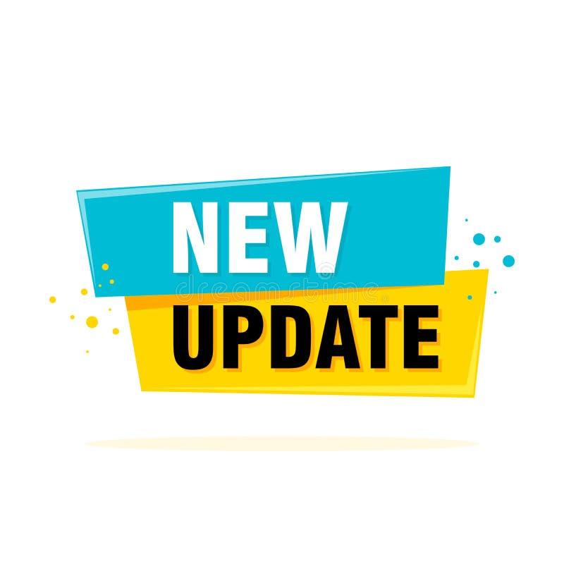 Het nieuwe die malplaatje van de updatebanner op witte achtergrond wordt geïsoleerd Vectorillustratie voor opslag, online winkel, stock illustratie