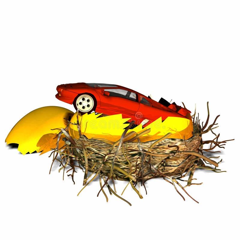 Het nieuwe Ei van het Nest van de Auto stock illustratie