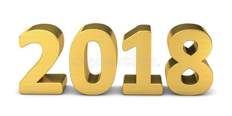 Het nieuwe goud 3D 2018 van de jaartekst royalty-vrije illustratie