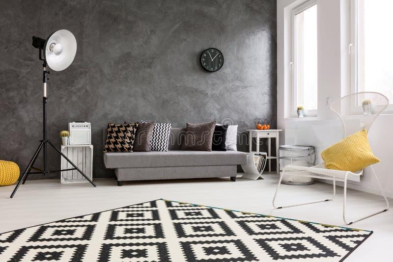 Het nieuwe idee van de ontwerp grijze woonkamer stock afbeelding