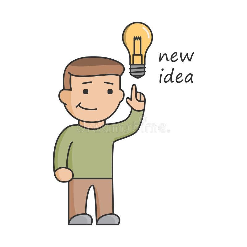 Het nieuwe idee van het lijnconcept voor zaken Grote ideeën, innovatie en st stock illustratie