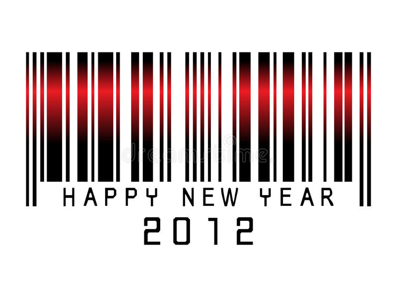 Het nieuwe jaar 2012 van de streepjescode stock illustratie