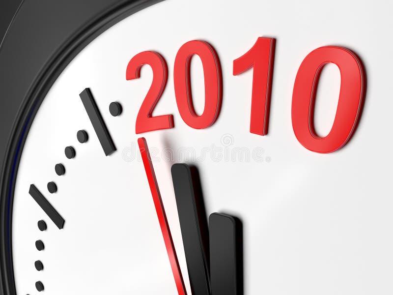 Het nieuwe jaar 2010 in een klok stock illustratie