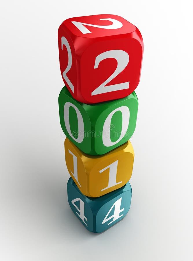 Het nieuwe jaar kleurrijke 2014 dobbelt toren vector illustratie