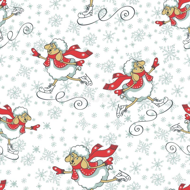 Het nieuwe jaar tjirpt het schaatsen Naadloos patroon Kerstmis stock illustratie