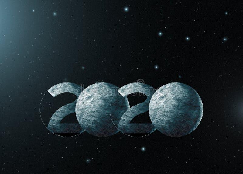 het nieuwe jaar van 2020 als planeten in heelal royalty-vrije stock foto's