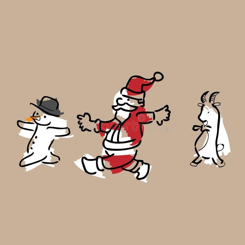 Het nieuwe jaar van de kerstmangeit stock illustratie