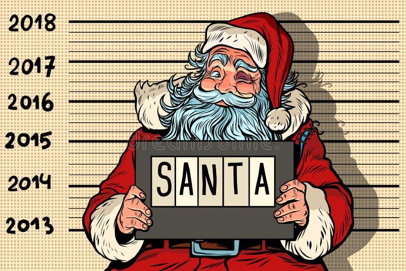 het nieuwe jaar van 2018, foto grappige Santa Claus onder arrestatie royalty-vrije illustratie