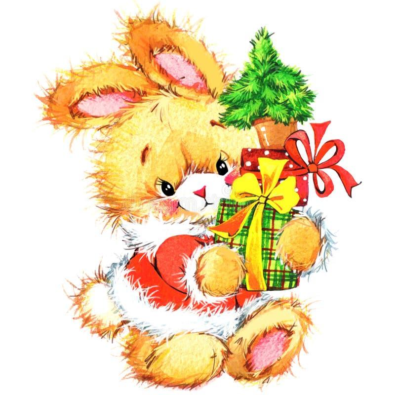 Het nieuwe konijntje van jaarsanta claus en Kerstmisachtergrond vector illustratie