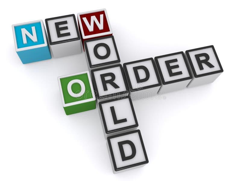 Het nieuwe kruiswoordraadsel van de wereldorde stock illustratie
