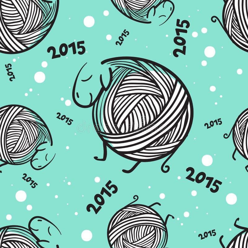 Het nieuwe naadloze patroon van jaar 2015 grappige sheeps stock illustratie