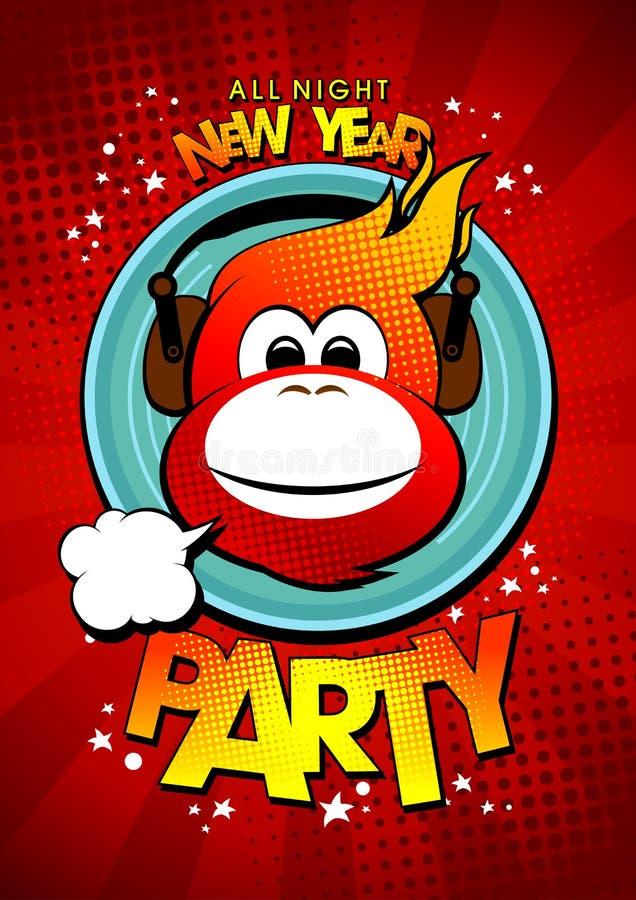 Het nieuwe ontwerp van de jaarpartij met hete aap in oortelefoons vector illustratie