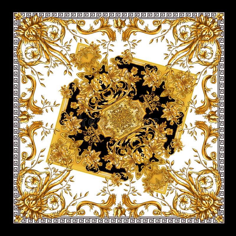 het nieuwe ontwerp van de seizoen mooie sjaal Gouden baroq in wit patroon als achtergrond stock illustratie