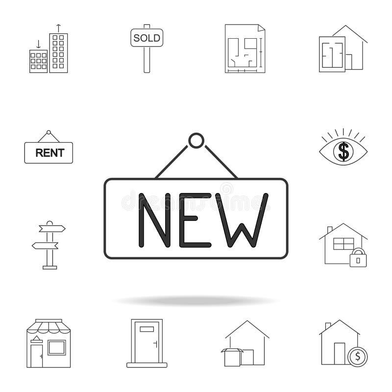 Het nieuwe pictogram van de tekenlijn Reeks het elementenpictogrammen van verkooponroerende goederen Het grafische ontwerp van de royalty-vrije stock afbeelding
