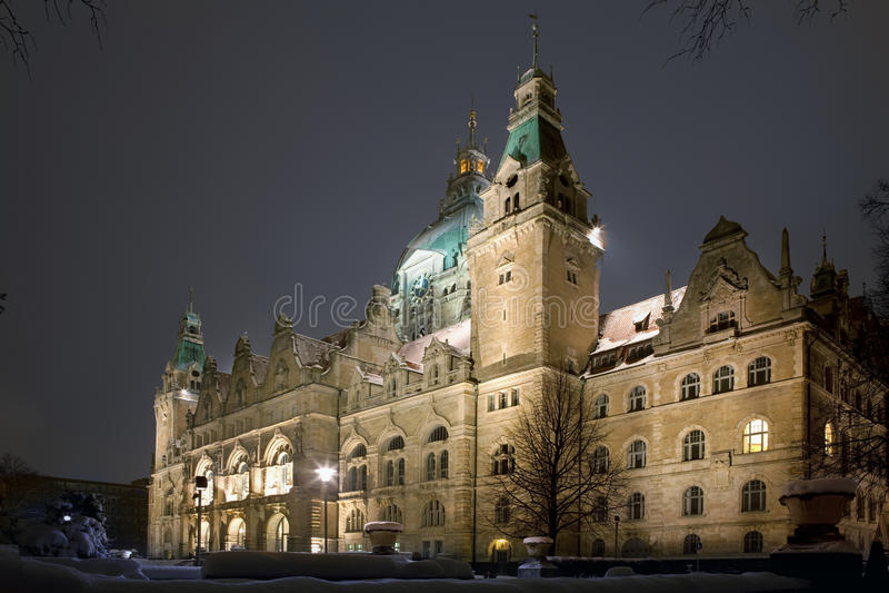 Het nieuwe Stadhuis Hanover van de Stad stock afbeeldingen