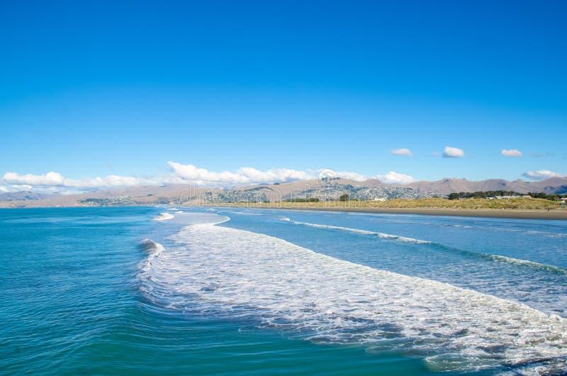 Het nieuwe strand van Brighton in Christchurch stock foto