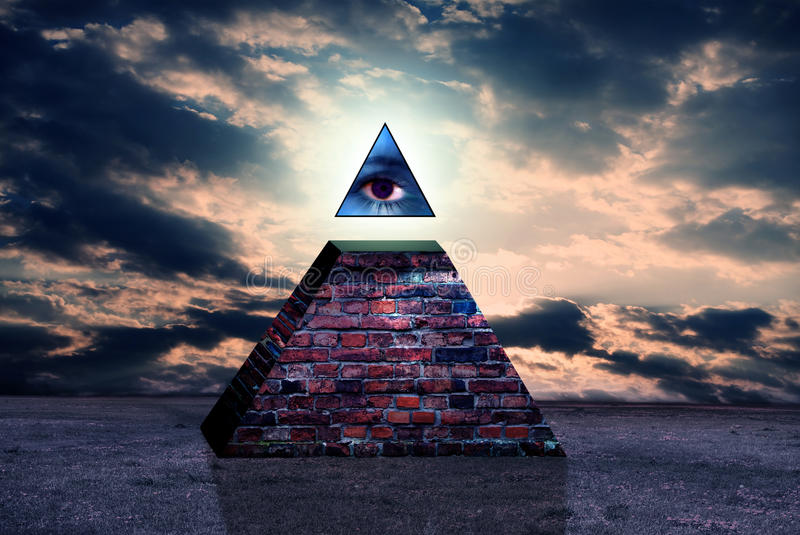 Het nieuwe teken van de wereldorde van illuminati royalty-vrije illustratie