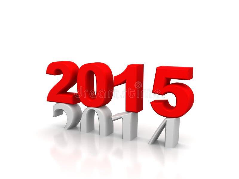 Het nieuwjaar 2015 en Oude 2014, geeft 3D terug vector illustratie