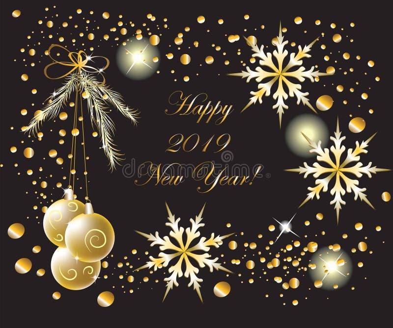2019 het Nieuwjaar & Kerstmis Mooie Groetkaart van de de Wintervakantie Gelukkige stock illustratie