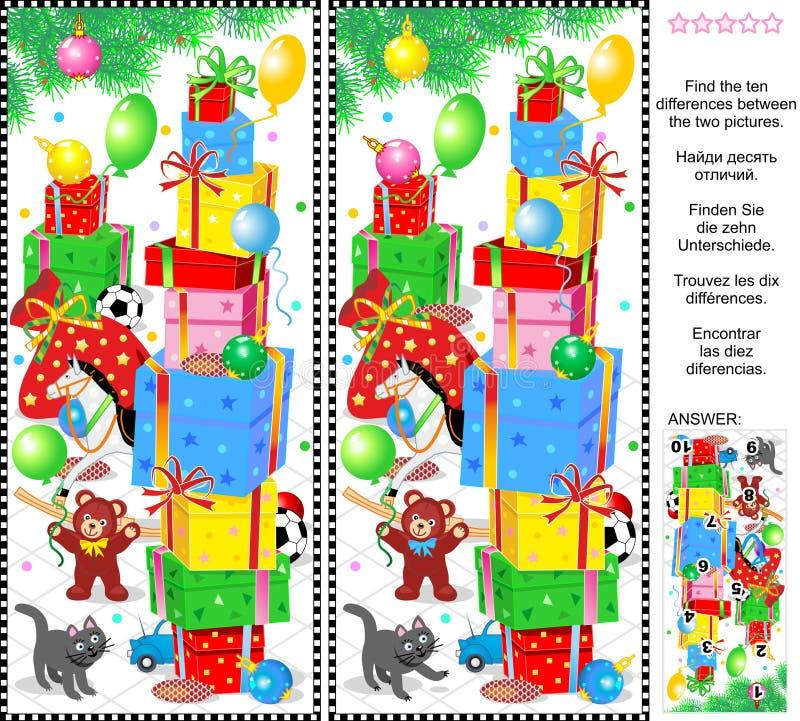 Het nieuwjaar of Kerstmis vindt het raadsel van het verschillenbeeld vector illustratie