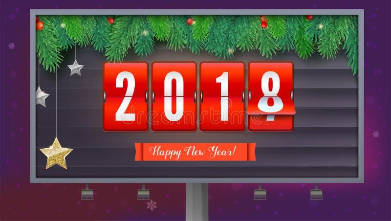 Het nieuwjaar is komende 2018 Achtergrond met mechanische klok, kronkelweg en Kerstmisbal Gelukkige nieuwe jaar 3d illustratie vector illustratie