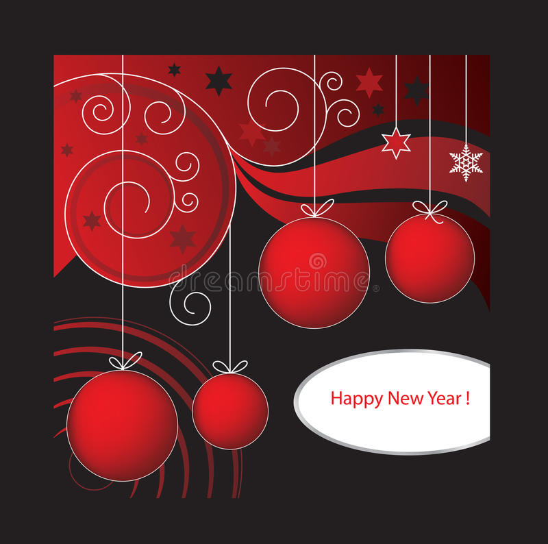 Het Nieuwjaar Rode D van de kaart royalty-vrije stock afbeeldingen