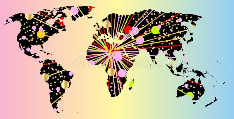Het Nieuwjaar van de wereldkaart vector illustratie