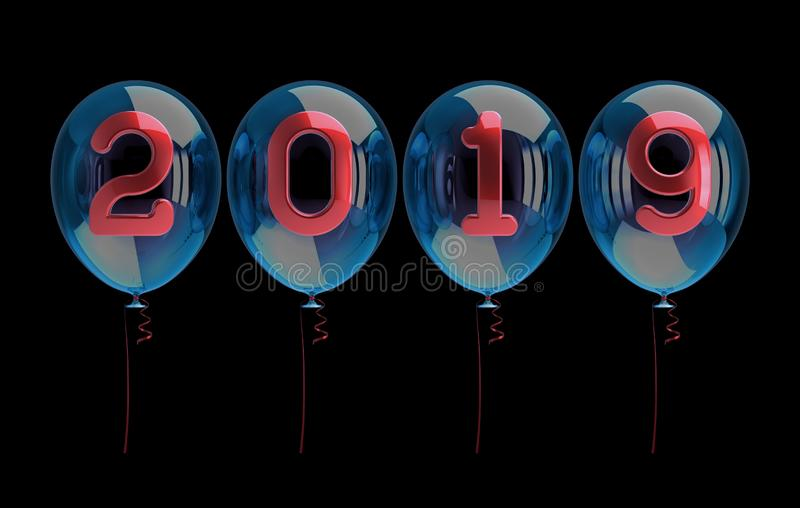 Het Nieuwjaar van partijballons 2019 vector illustratie