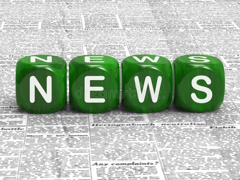 Het nieuws dobbelt toont Dekking van Huidige Gebeurtenissen stock illustratie