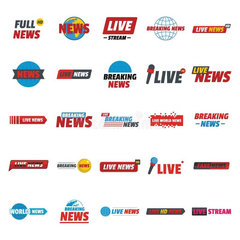 Het nieuws leeft brekende geplaatste etiketpictogrammen, vlakke stijl royalty-vrije illustratie