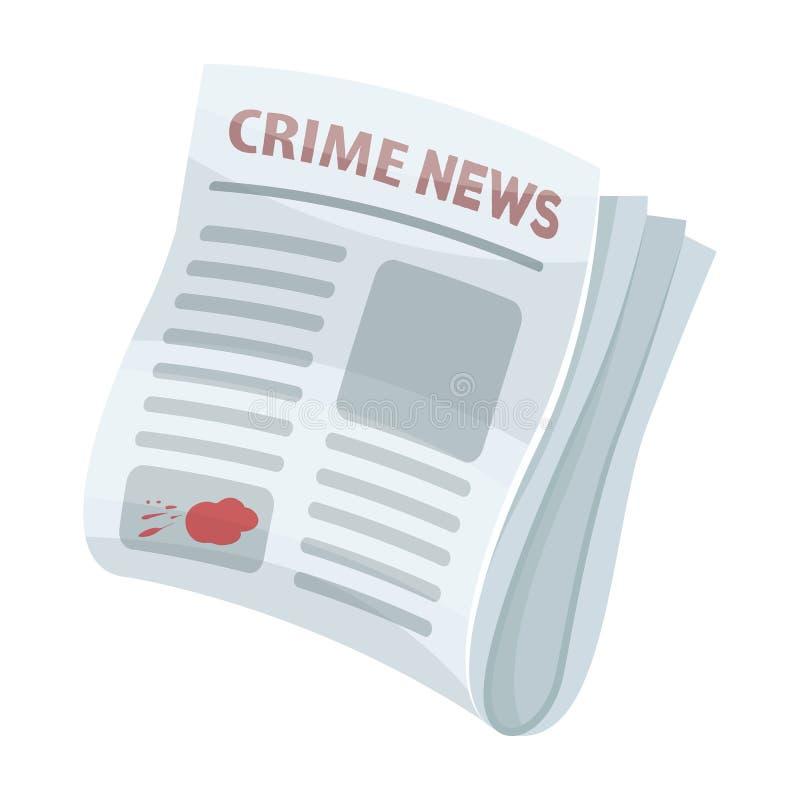 Het nieuws van de krantenmisdaad Misdaadartikel in het pers enige pictogram in van de het symboolvoorraad van de beeldverhaalstij royalty-vrije illustratie