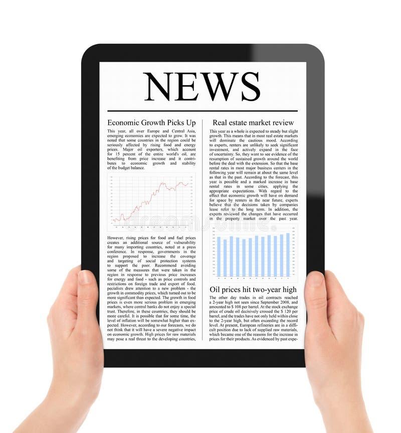 Het Nieuws van de lezing op PC van de Tablet royalty-vrije stock foto's