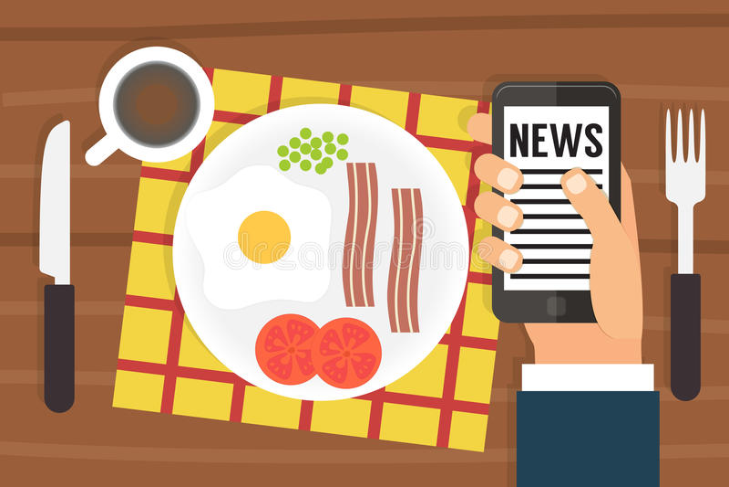 Het nieuws van de ochtend Smartphone-Verslaving Vlak Ontwerp vector illustratie