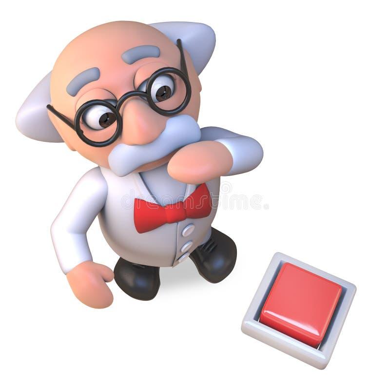 Het nieuwsgierige gekke karakter van de wetenschapperprofessor bekijkt inschakelt de vloer, 3d illustratie royalty-vrije illustratie