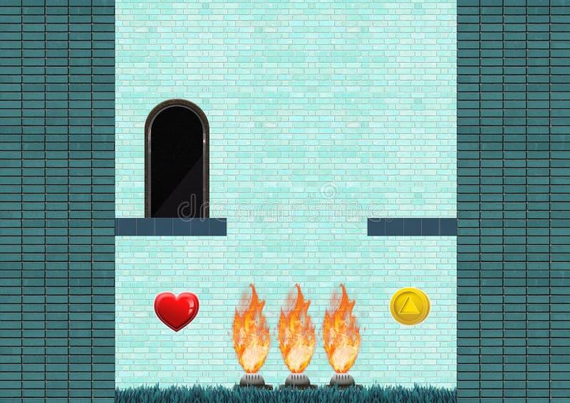 Het Niveau van het computerspel met collectibles en brandgevaarlijke gebouwen stock illustratie