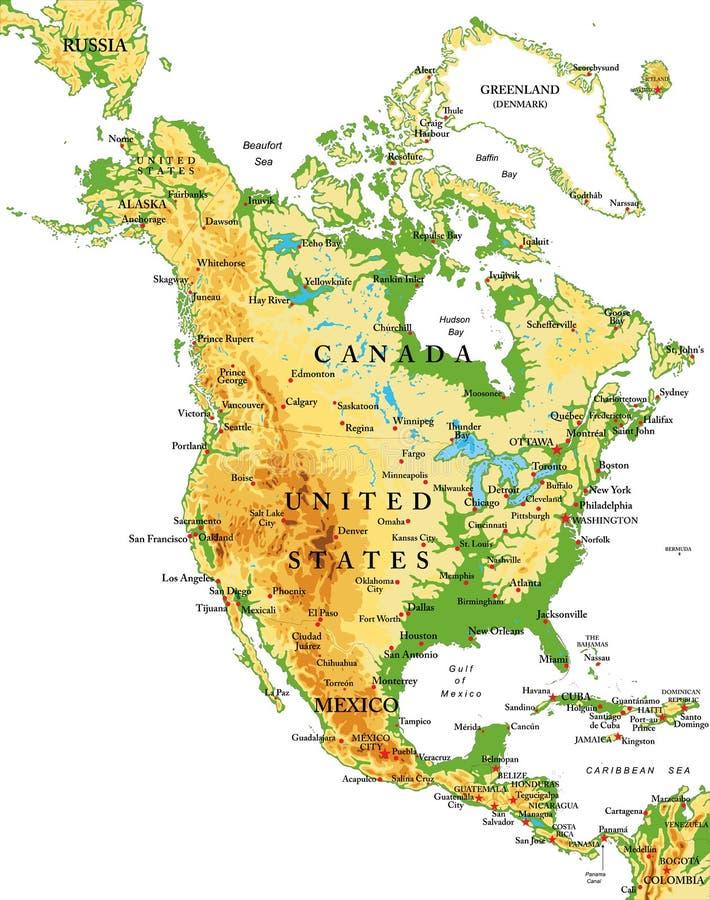 Het noorden Amerika-Fysieke kaart royalty-vrije illustratie