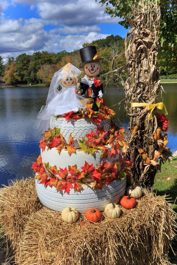 Het noorden Carolina Fall Wedding Cake Display royalty-vrije stock foto's