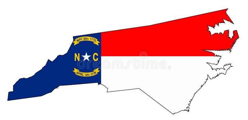 Het noorden Carolina Outline Map en Vlag royalty-vrije illustratie