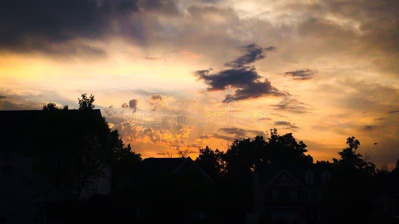 Het noorden Carolina Sunset in de medio zomer stock afbeeldingen