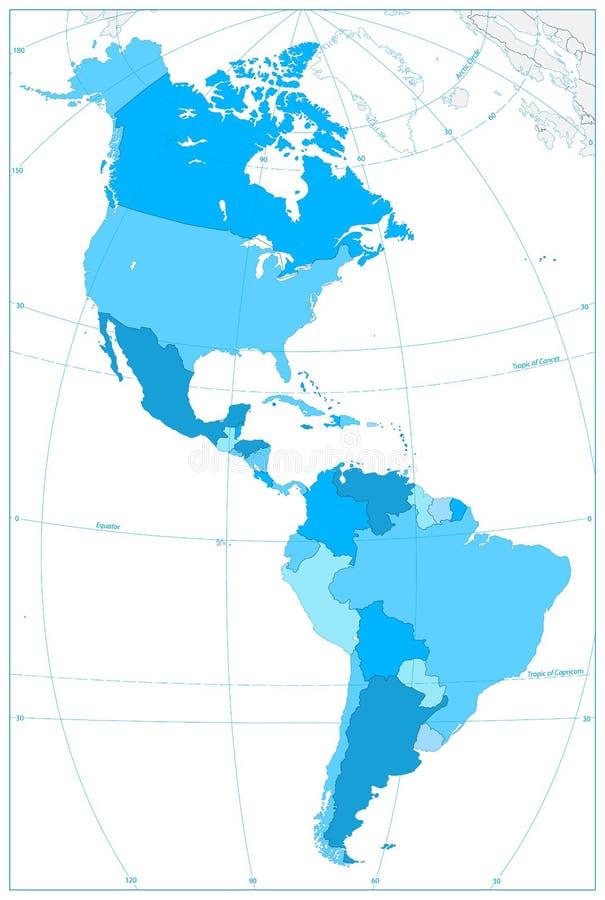 Het noorden en de Kaart van Zuid-Amerika in Kleuren van Blauw GEEN tekst royalty-vrije illustratie